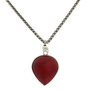 Lucky Brand Silver-Tone Red Fish Pendant Necklace